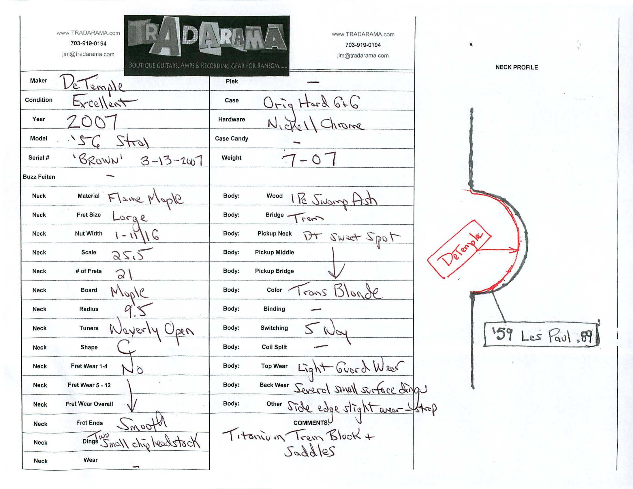 Sold Product Types Prime Guitars 2013 Les Paul Wiring Diagram Spec Sheet